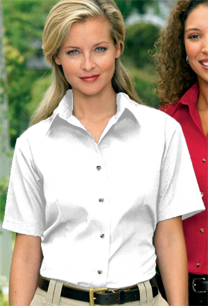 Jonathan Corey Ladies 6.0 ounce Short Sleeve Soil-Release Twill